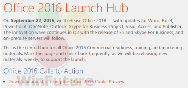 Aviso dado internamente en Microsoft sobre el inminente lanzamiento de Office 2016 para Windows | WinFuture.de