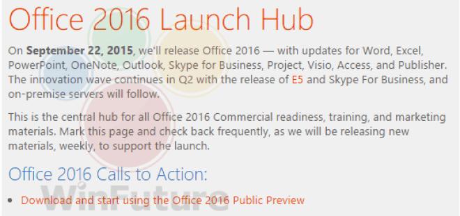 Aviso dado internamente en Microsoft sobre el inminente lanzamiento de Office 2016 para Windows | WinFuture.de