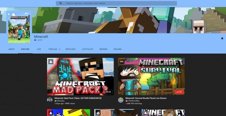 Ejemplo de página dedicada a Minecraft