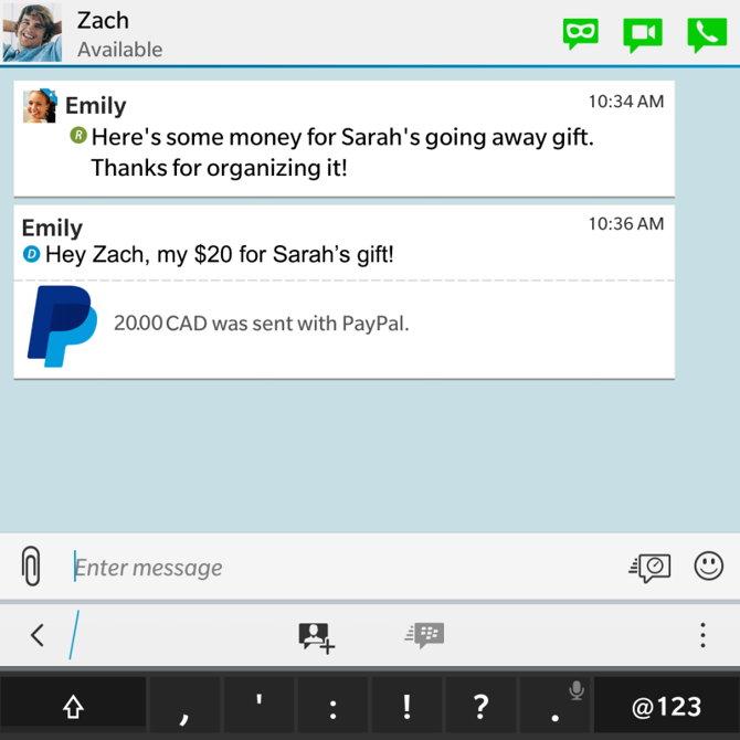 Cómo lucen los pagos vía PayPal dentro de BBM