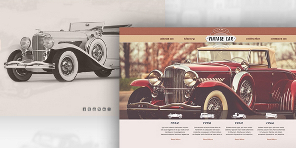 Retro Car Template: Una Plantilla Web Con Un Esquema Clásico En PSD Y AI