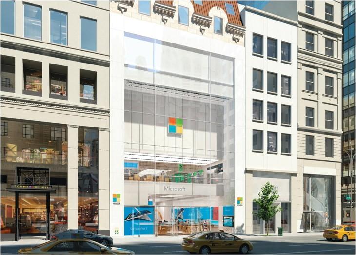 Render de la Microsoft Flagship Store en Nueva York