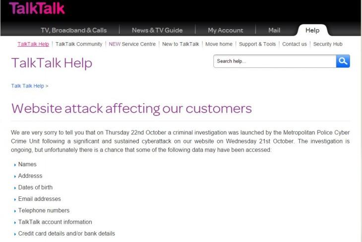 Aviso mostrado en la web de TalkTalk