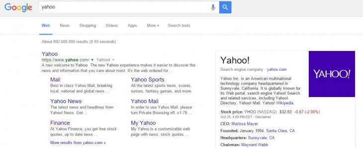 Yahoo en google.com