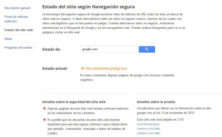Resultado al buscar google.com en la nueva herramienta