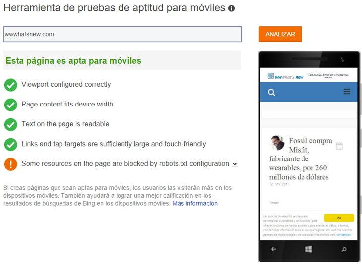 Los resultados de una prueba de compatibilidad con móviles mediante la nueva herramienta de BIng