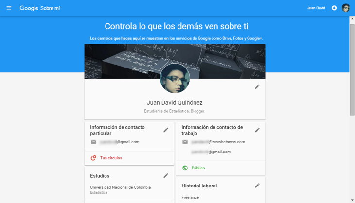 nuevos perfiles google