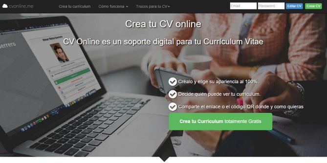 cvonline, para crear el currículum online y, opcionalmente, descargarlo en PDF