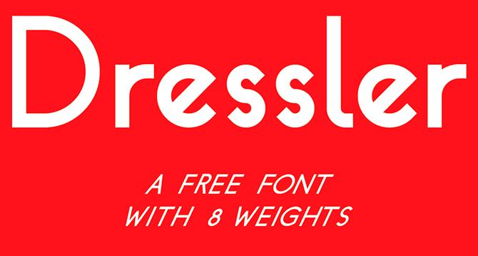 Dressler: Fuente Sans Serif Con 8 Grosores