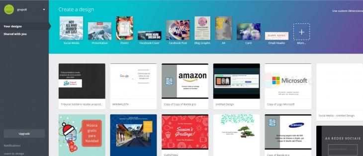 Aspecto de canva.com con algunos banners creados