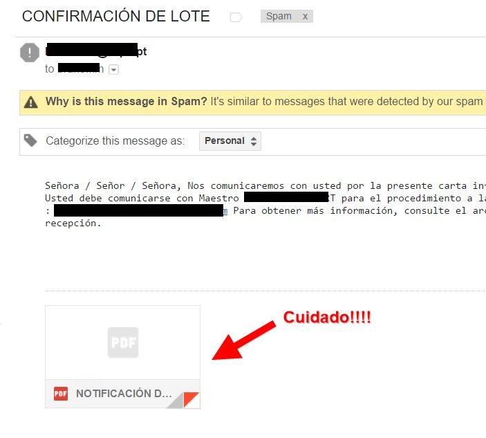 Email con adjunto peligroso