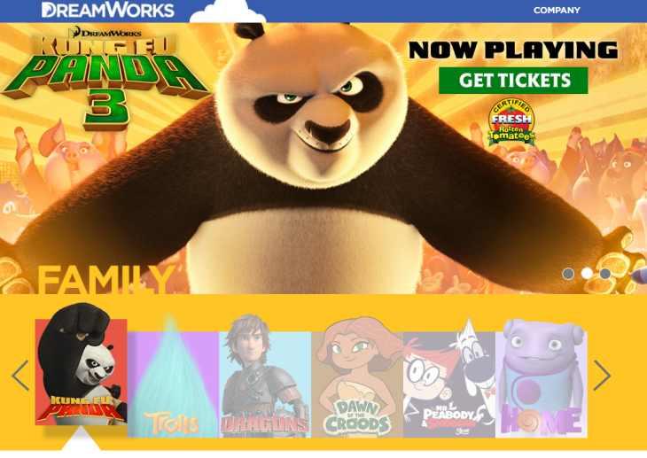 Imagen: Página inicial de DreamWorks