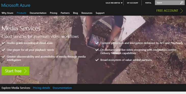 Imagen: Web principal de Azure Media Services