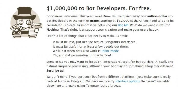Telegram anuncia premios para creadores de bots