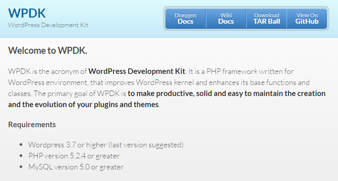 WPDK: Kit De Desarrollo De WordPress