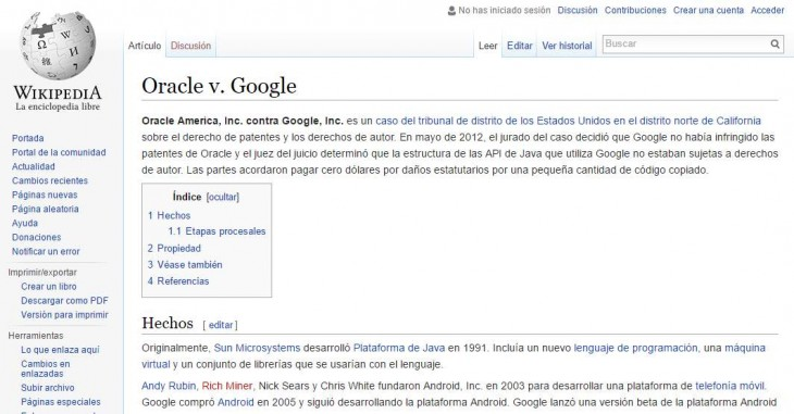 Página en Wikipedia™ con el caso Google™ vs Oracle