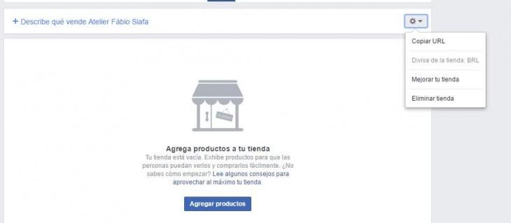 Panel de la tienda de facebook