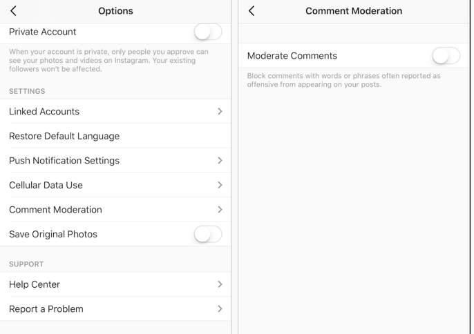 Moderando comentarios en Instagram