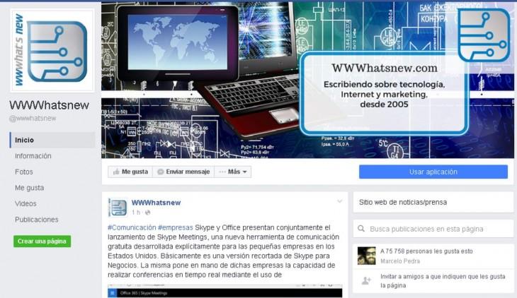 Aspecto de las nuevas páginas de Facebook