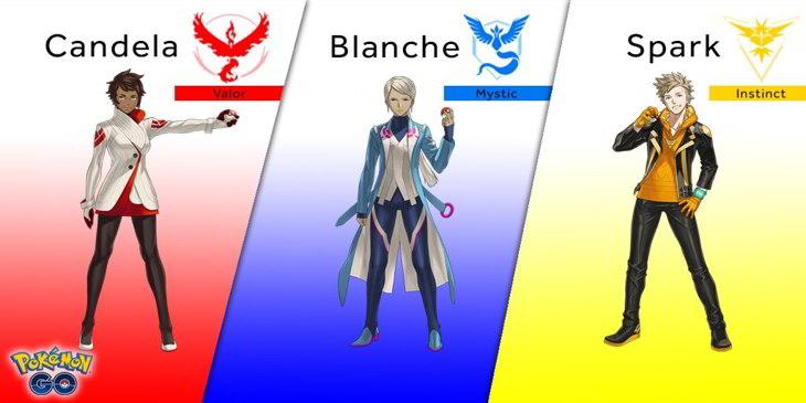 Los nuevos personajes. líderes de equipo, que aparecerán en Pokémon GO