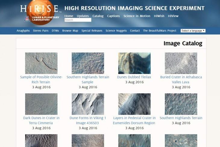 Más de 1.000 fotos, en alta resolución, de Marte