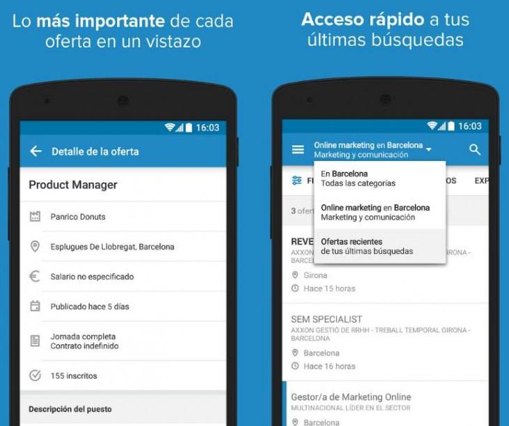 Detalles de ofertas y acceso a las últimas búsquedas de la app android