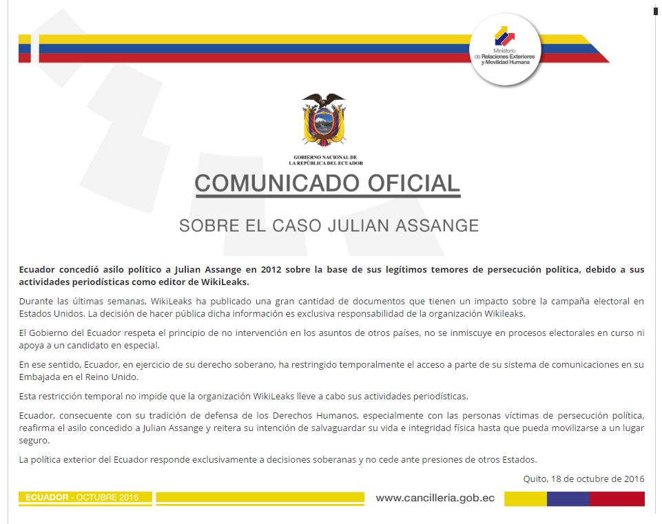 Comunicado Oficial | Cancillería de Ecuador