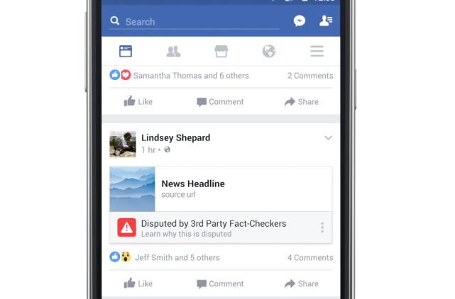 Noticia marcada como falsa en Facebook