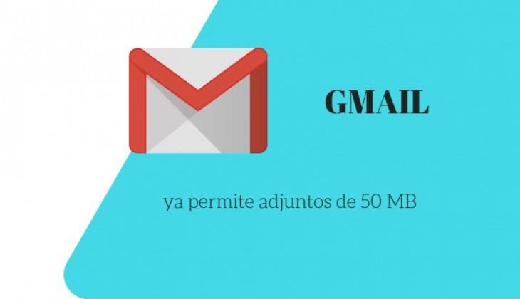 Gmail dobla el límite para el tamaño de archivos adjuntos recibidos