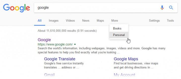 google añade pestaña buscador mostrarnos contenido personal