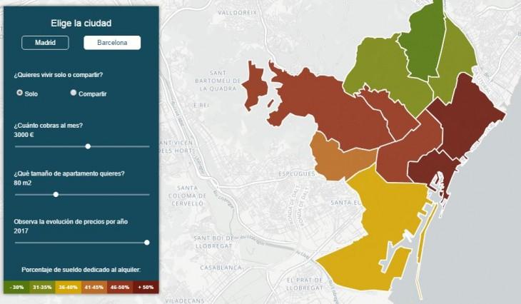 Mapa interactivo nos dice dónde podríamos vivir en Barcelona o Madrid con nuestro sueldo