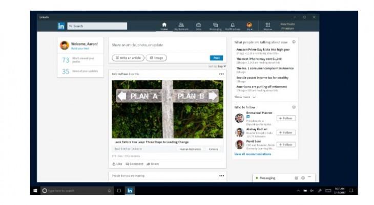 LinkedIn presenta su app para Windows 10