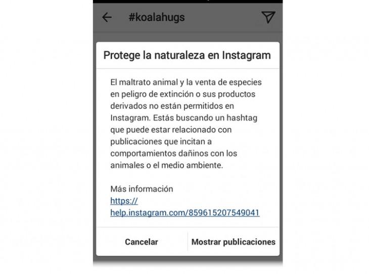 Instagram lanza advertencias en hashtags asociados a abuso animal