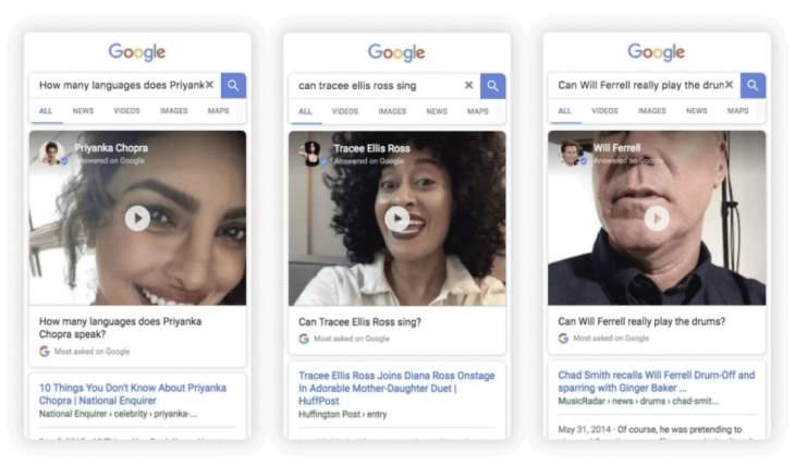 Google añade vídeos de celebridades respondiendo a sus preguntas frecuentes