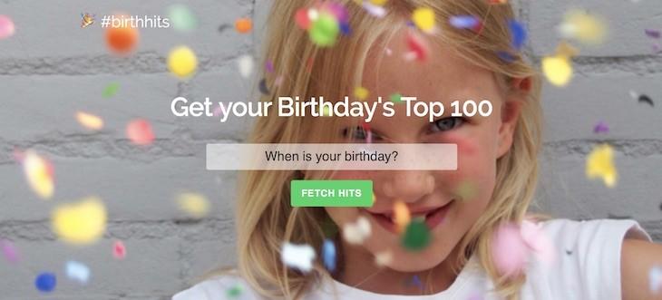 #birthhits, crea una lista de Spotify con las canciones que sonaban el día que naciste