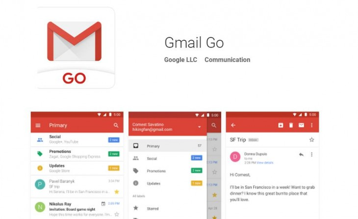 "Ya disponible la versión ""light"" de Gmail: Gmail Go"