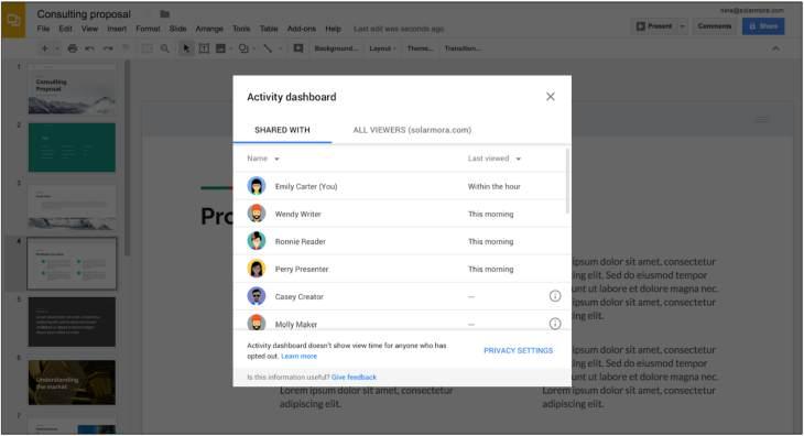 G Suite estrena Panel de Actividad para hacer seguimiento de las visitas de los archivos