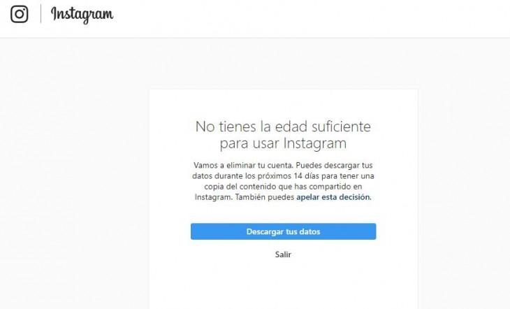 cuenta cancelada instagram menores años