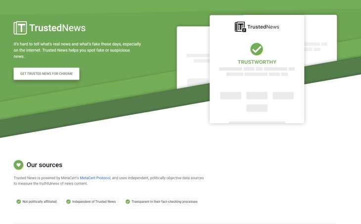 Trusted News, extensión que ofrecerá clasificaciones de confiabilidad en sitios web