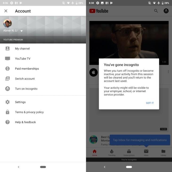 YouTube está habilitando el modo incógnito en su app para Android
