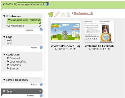 Aplicación Web Evernote