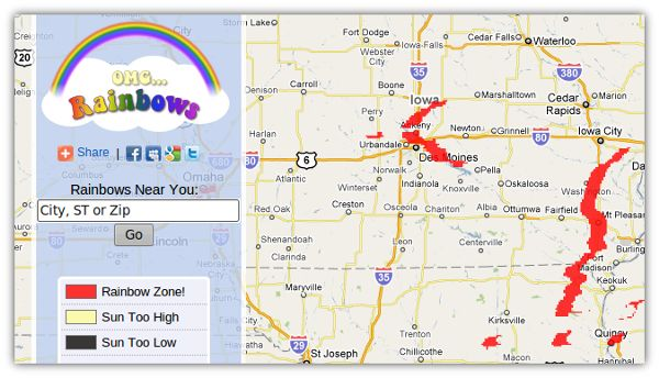 OMG Rainbows! – Un buscador de arcoiris en Google maps