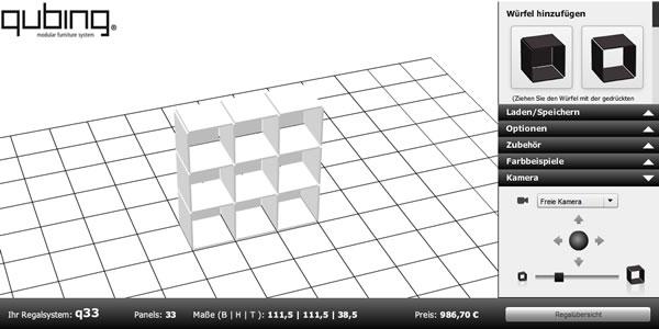 Qubing dise a estanterias y muebles con un cubo 3d for Disenar muebles 3d