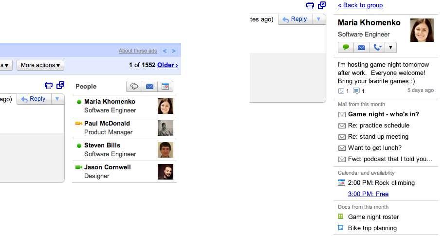 """Gmail presenta su """"widget de personas"""""""