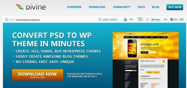 Divine – Una extensión de photoshop para transformar de PSD a tema ...