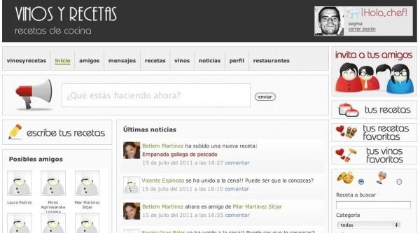 captura pantalla muro vinosyrecetas