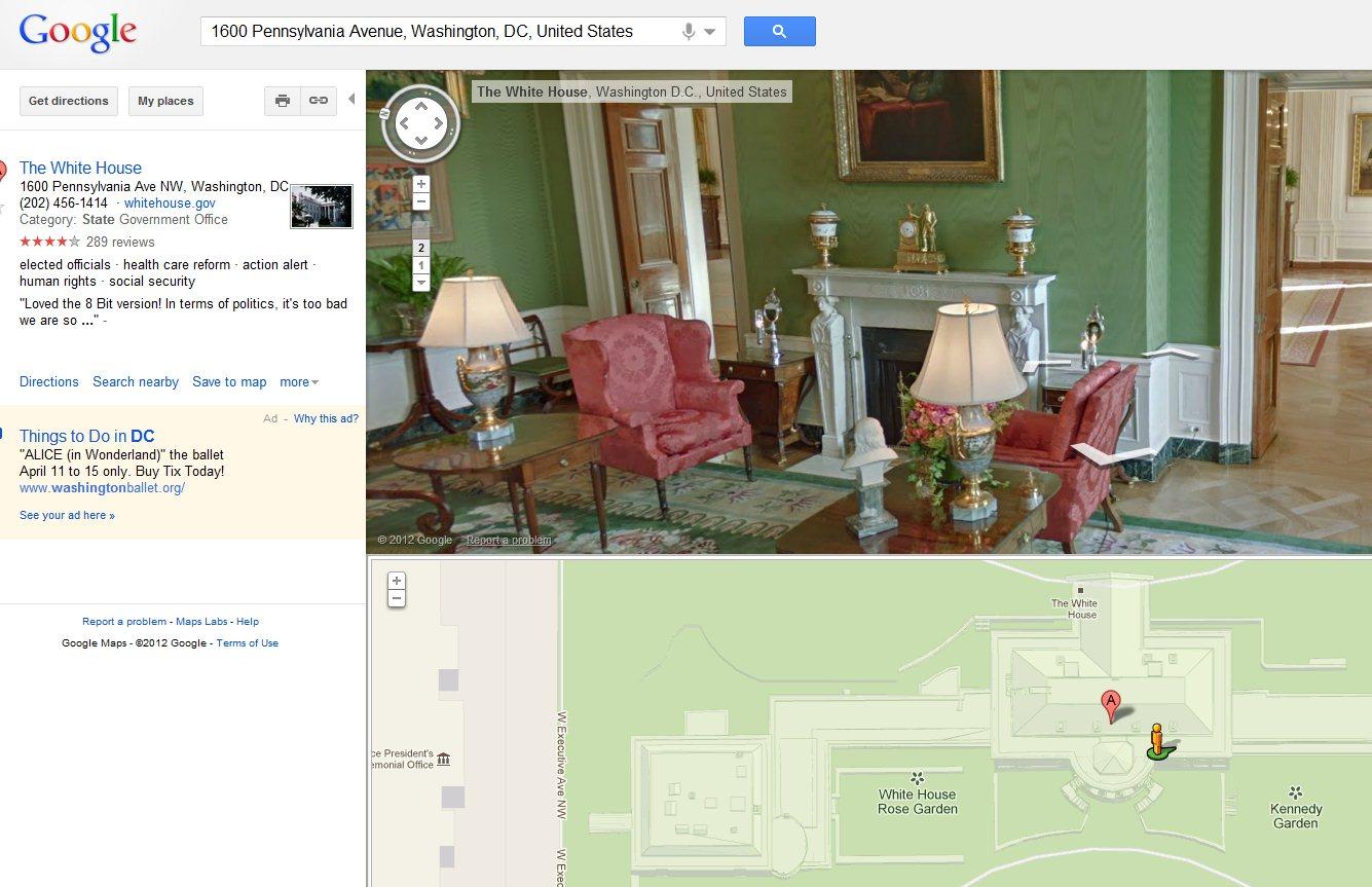 Un recorrido virtual por la casa blanca en google maps for Casas modernas recorrido virtual