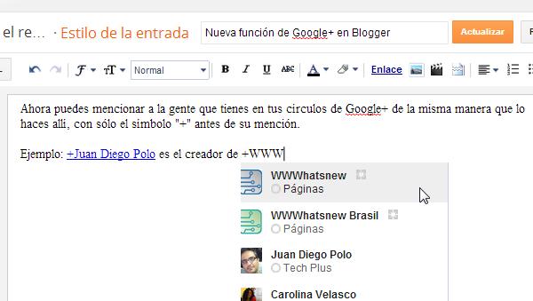 menciones google+ blogger