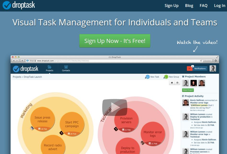 droptask, creando y gestionando tareas de forma gráfica