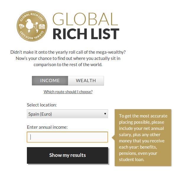 Global Rich List – Para demostrar la mala distribución de riqueza en el mundo